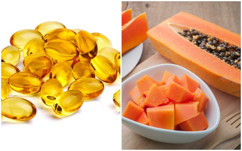 Kết hợp vitamin E dưỡng da mặt với đu đủ ngăn ngừa lão hóa