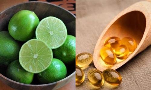 Kết hợp vitamin E dưỡng da mặt với chanh