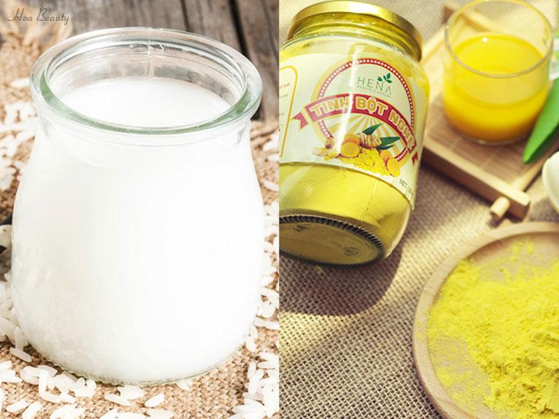 Cách làm trắng da bằng nước vo gạo và tinh bột nghệ
